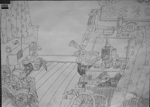 初中美术风景铅笔